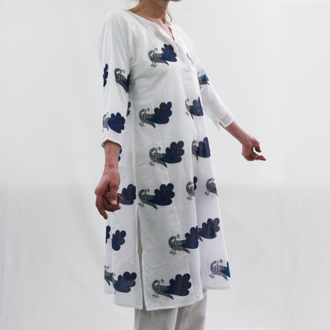 Kurta / nightdress - Dancing Peacock Blue