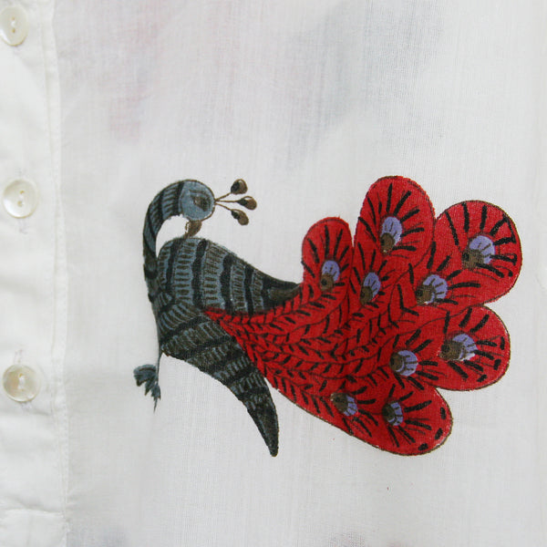 Kurta / nightdress - Dancing Peacock Red
