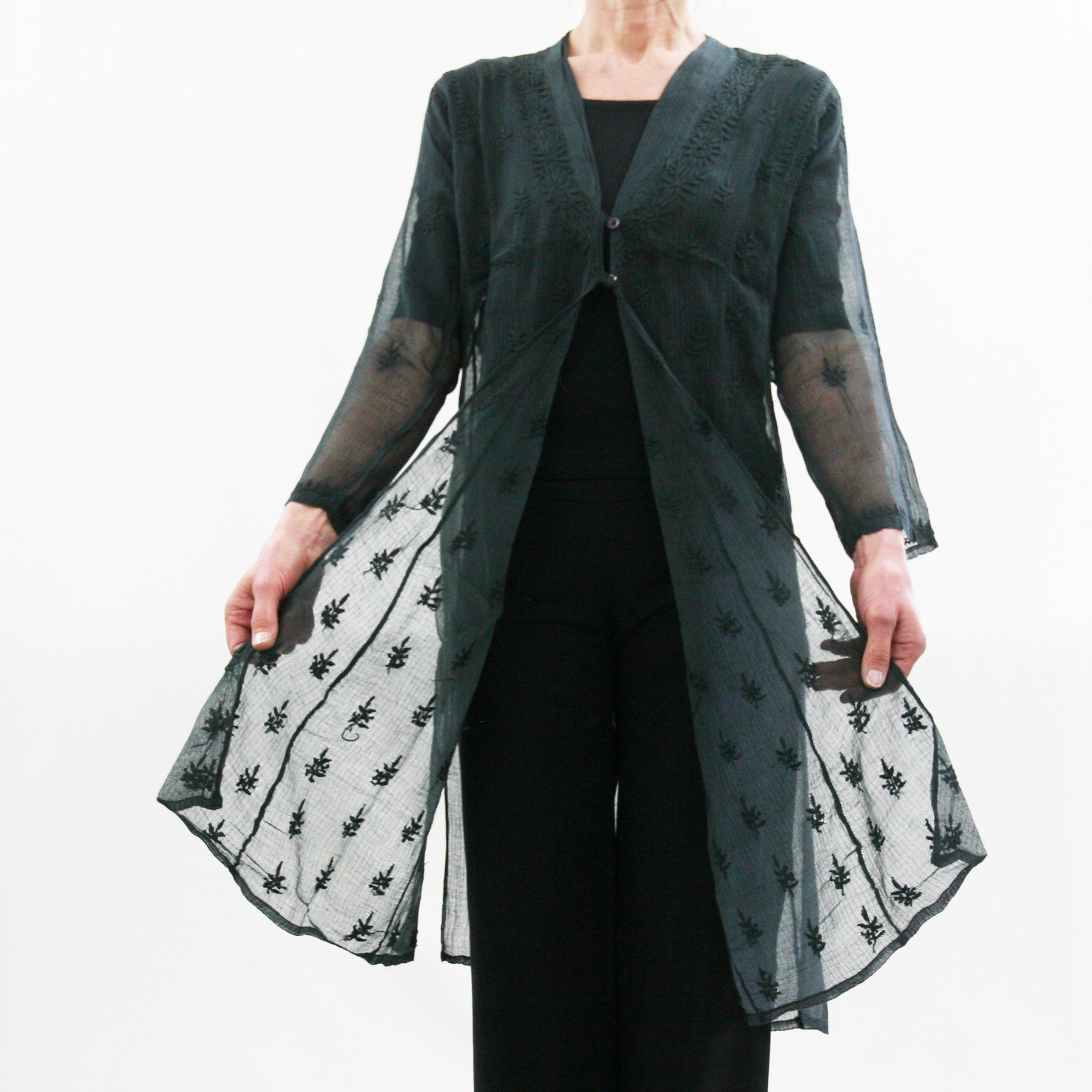 Sheer Cotton Embroidered Jacket - black