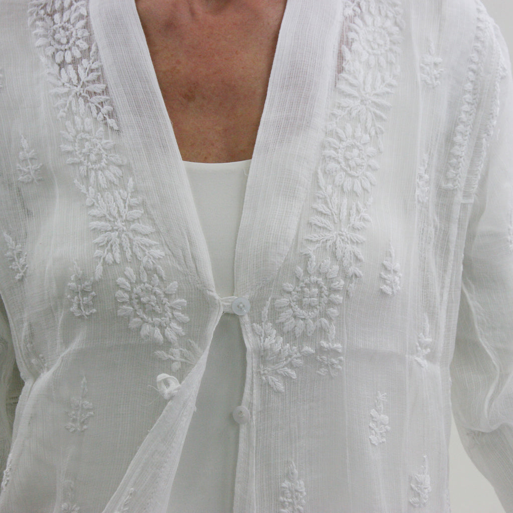 Sheer Cotton Embroidered Jacket - White