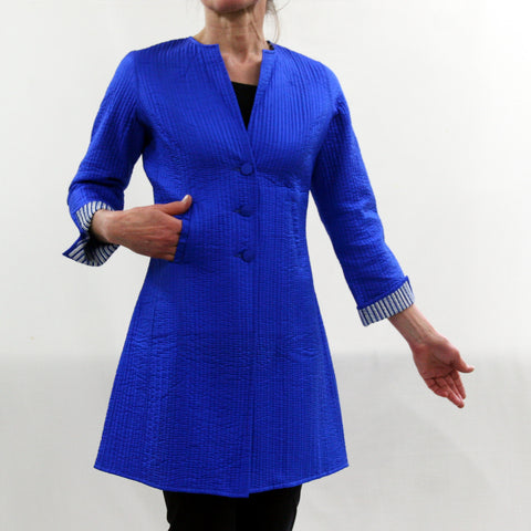 Annik Silk Pleat Jacket - Reversible Blue