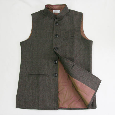 Men's Tweed Sleeveless Jacket - Brown