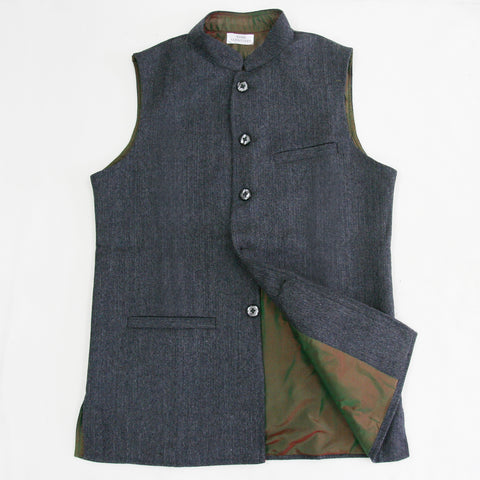 Men's Tweed Sleeveless Jacket - Charcoal
