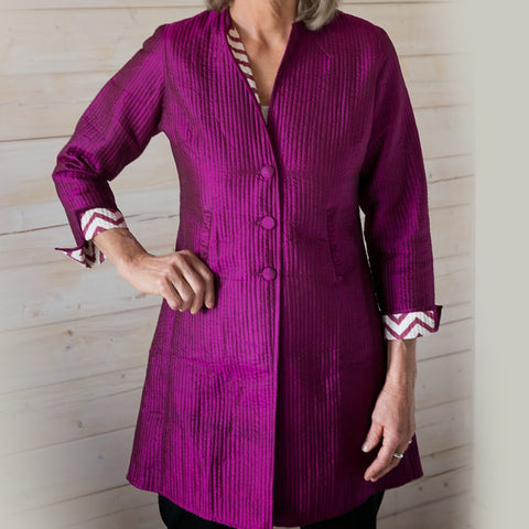Annik Silk Pleat Jacket - Reversible Magenta