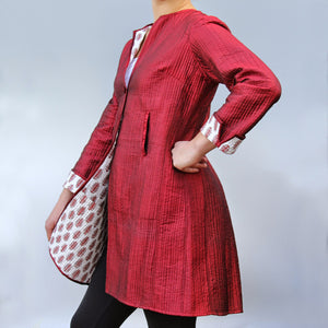 Annik Silk Pleat Jacket - Reversible Rust