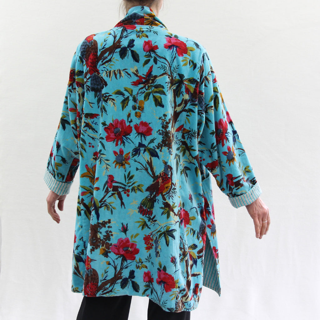 Cotton Velvet Short Kimono Jacket in Bird Print - Turquoise