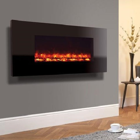 Electriflame Piano Black Wall Mounted Electric Fire