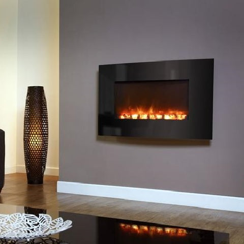 Electriflame XD Curved Black Glass Wall Mounted Electric Fire