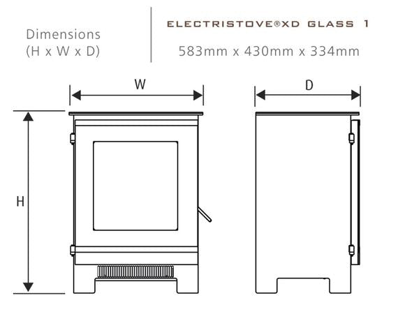 Electristove XD Glass 1 Electric Stove Dimension