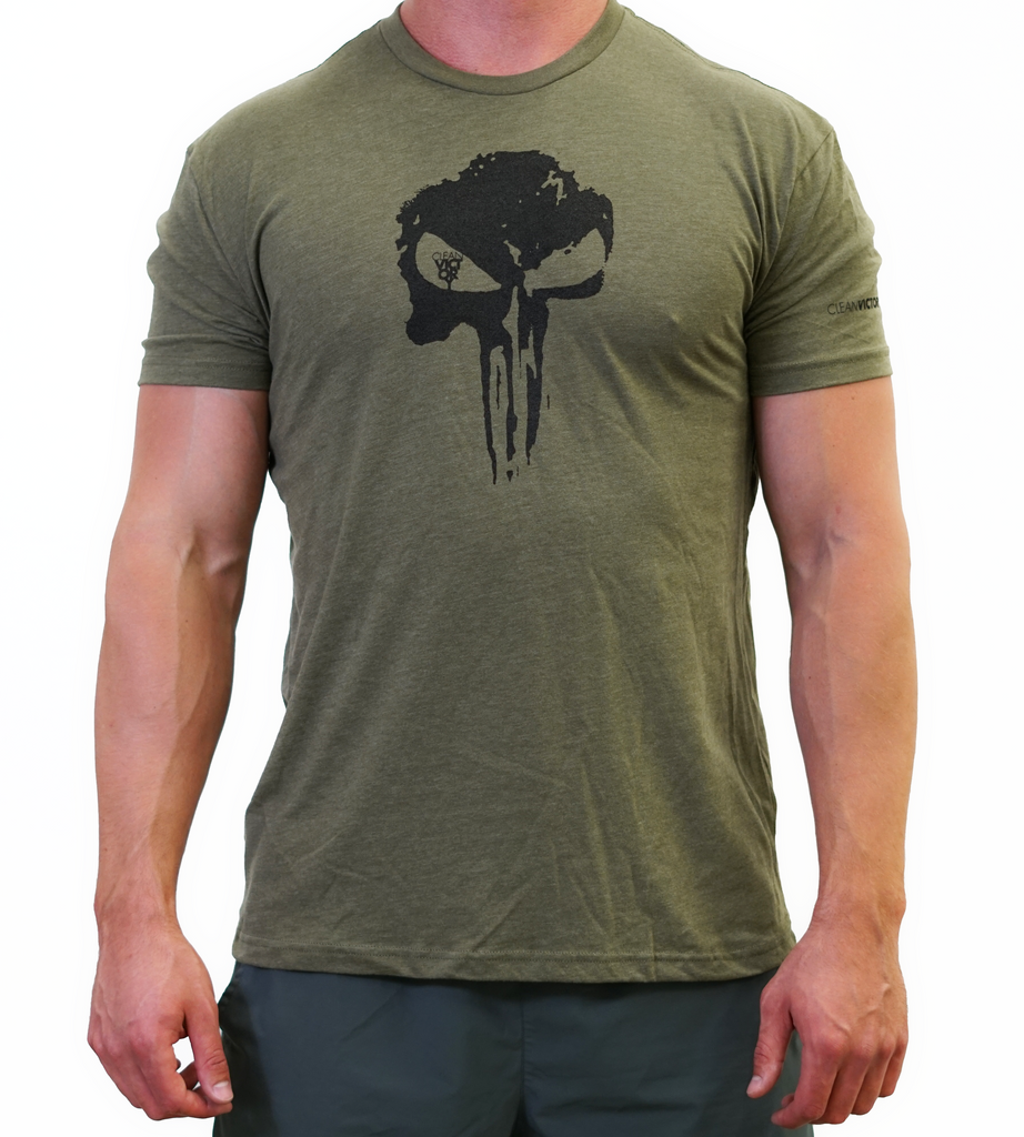 3377bd466 Men's T-Shirt Skull - Military Green – Clean Victory Supplements