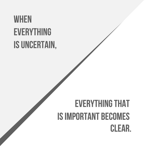 when everything is uncertain everything that is important becomes clear quote