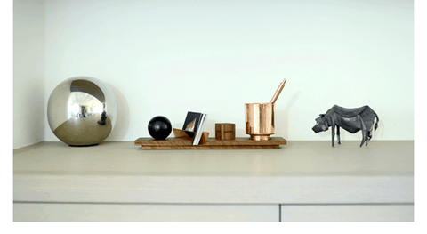 Walnut and Copper Desk Accessory Lux Cupri by Trophyology