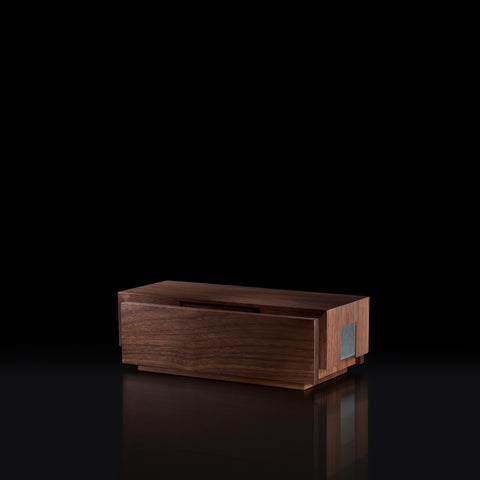 Walnut & Stainless Steel Custom Stationery Box Modern Executive Appreciation Gift for Corgan Architecture