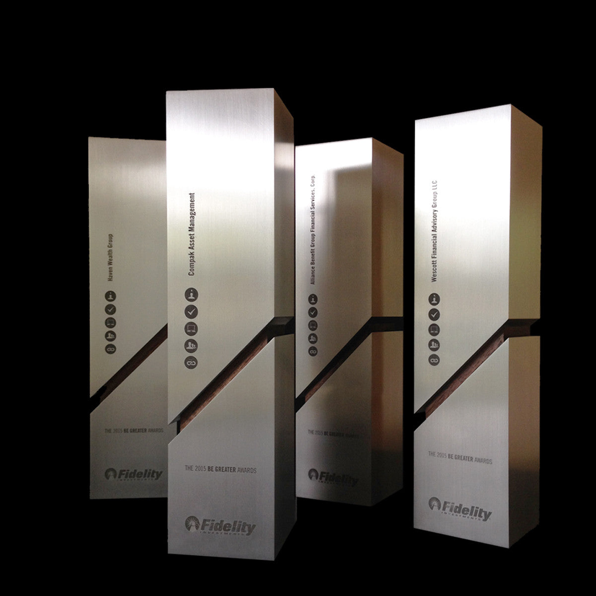 Custom Modern 'Be Greater' Award for Fidelity Investments | Aluminum