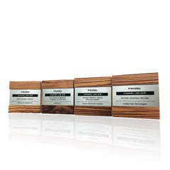Reclaimed Wood Eco Award Trophies Handcrafted Engraved Metal Plaque