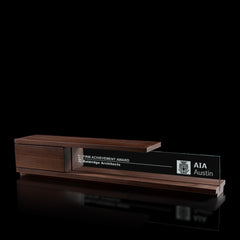 Unique Modern Personalized Custom Award | Wood and Glass | Portico