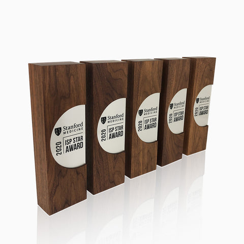 Elegant University Recognition Award Trophies Engraved Wooden with Metal Plaque_g
