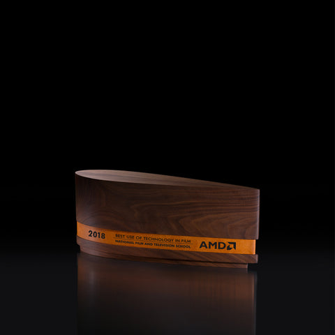 Elegant Wood Leather Engraved Corporate Award Trophy