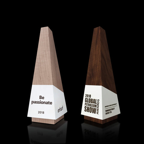 Modern Designer Maple and Walnut Wooden Engraved Award Trophies