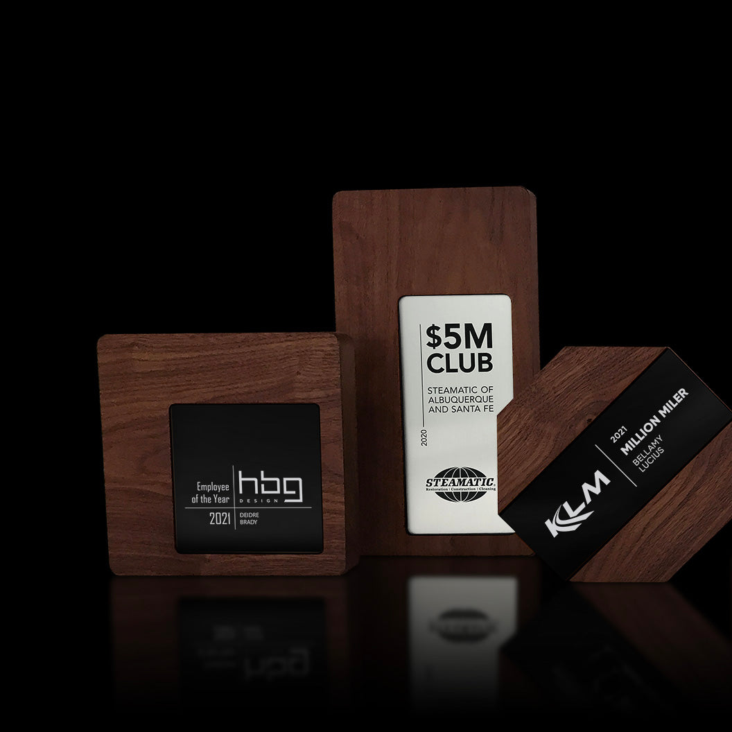Walnut and Aluminum Wall Trio Suite of Plaque Awards by Trophyology