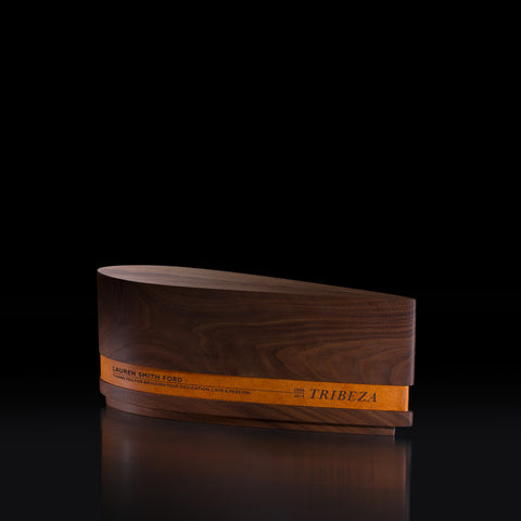 Unique Award Design: Ovali Personalized Modern Trophy | Custom Wood and Leather