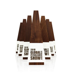 Engraved Wood Global Petroleum Show Awards by Trophyology