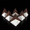 Geometric Patterned Walnut Wood and Paint Custom Engraving Pyramid Awards for Health I.Q.