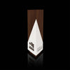 Designer Modern Geometric Triangulus Award, Walnut Wood and White Paint, for AMCHAM