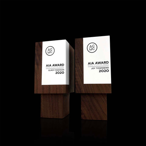 Handmade Designer Modern Geometric Walnut and Paint Awards with Custom Engraving for ACWC