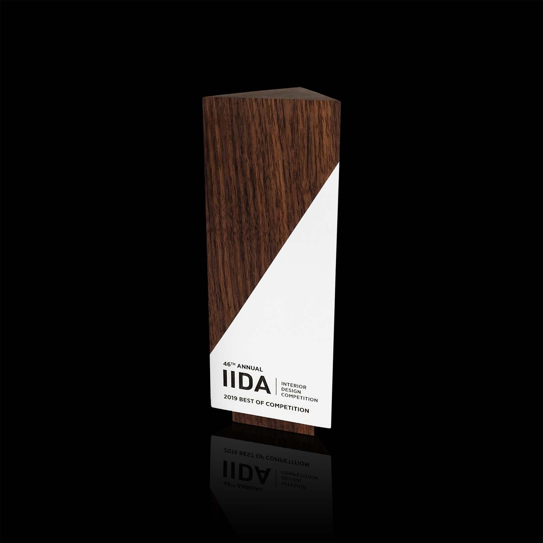 Wooden Walnut Geometric Award Custom Engraved for IIDA, Interior Design Competition