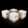 Maple wood and white paint cube trophies for Ugg