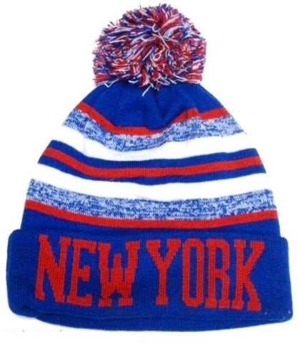 New York Rangers Blue / Red Classic POM Ball Knit Hat Cap Winter Ski Beanie