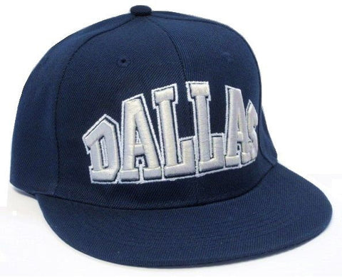 Dallas Cowboys Solid Blue Flat Brim Visor Hat Cap Gray Text Logo Snapback
