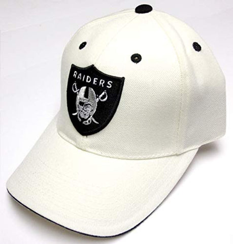 Oakland Raiders NFL American Needle White Cream Structured Hat Cap Adult Men's Adjustable