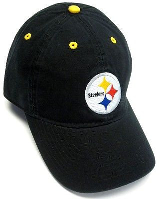 Pittsburgh Steelers NFL Black w/ Logo Slouch Hat Cap Relaxed Fit Adult OSFA