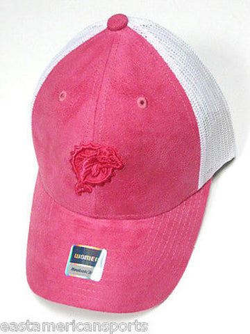 Miami Dolphins NFL Reebok Pink Logo Suede Felt Hat Cancer Cap White Mesh Womens