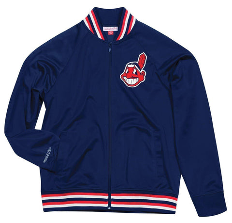 Cleveland Indians MLB Mitchell & Ness Navy Blue Top Prospect Track Jacket Men's