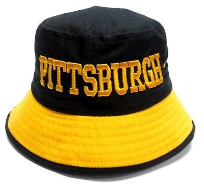 Pittsburgh Steelers Black Bucket Golf Fishing Sun Hat Cap Embroidered Text Logo