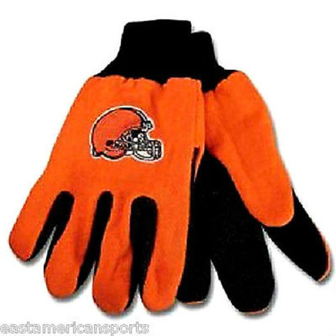 Cleveland Browns NFL Orange Utility Grip Work Gloves Football Helmet Logo