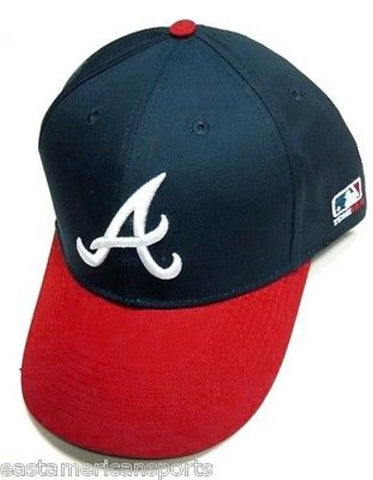 Atlanta Braves MLB OC Sports Hat Cap Blue / Red w/ White A Logo Team MLB Velcro