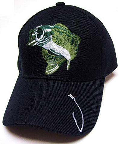Largemouth Bass Fishing Fish Hook Black Hat Cap Adult Men's Adjustable
