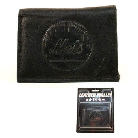 New York Mets MLB Black Leather Tri-fold Wallet Money Credit Card Holder