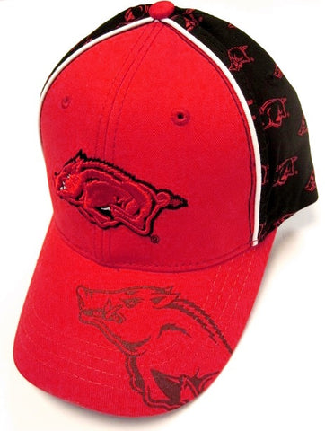 Arkansas Razorbacks NCAA Collegiate RARE! Red Hat Cap Repeater Logos Adjustable