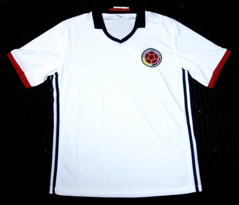 Colombia Soccer Futbol White Home Jersey Embroidered Patch Logo Men S, M, L, XL