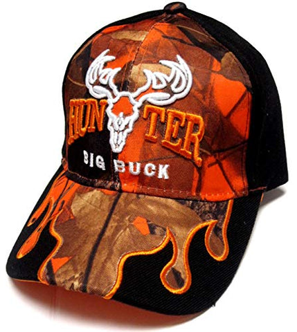 147309d38e6b2a TFA Big Buck Hunter Orange Camo & Black Flames Hunting Hat Cap Adult M –  East American Sports LLC