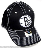 Brooklyn Nets NBA Adidas Black White Hat Cap Stitched Logo Flex Fit Fitted S/M