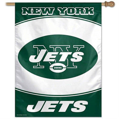 New York Jets NFL 27 x 37 Vertical Hanging Wall Flag Logo Banner Fan Bar Room