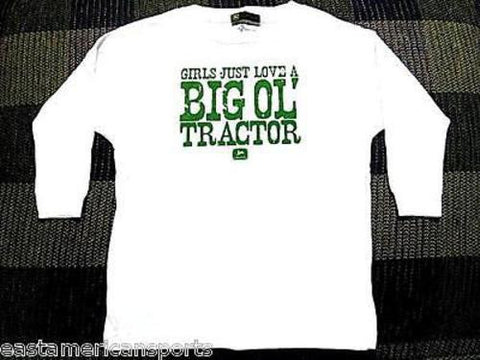eef293f7 John Deere Girls Just Love A Big Ol' Tractor White Long Sleeve Shirt  Toddler 2T