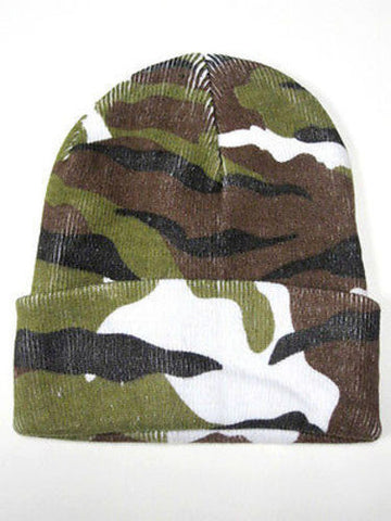 Camouflage Camo Green White Winter Knit Hat Skull Cap Toboggan Beanie Hunting