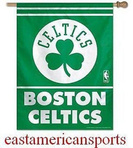 Boston Celtics NBA 27 x 37 Shamrock Vertical Hanging Wall Flag Fan Banner Bar